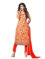 Suchi Fashion Embroidered Orange & Beige Cotton Dress Material