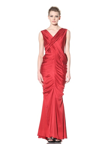 Vera Wang Women's Washed Charmeuse V-Neck Draped Gown (Red)