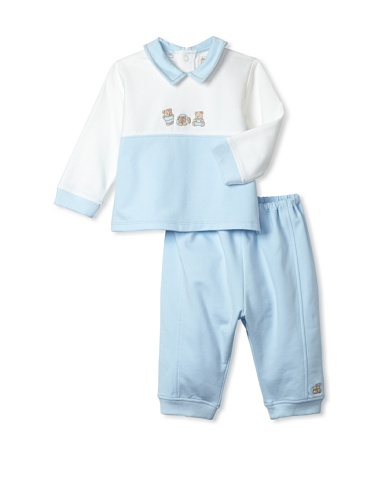 Emile et Rose Baby Boy's Bear Top and Trousers (Pale Blue)