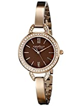 Caravelle New York Crystal Analog Champagne Dial Women's Watch - 44L134
