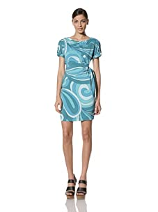 Donna Morgan Women's Side Tie Dress with Bias Sleeve and Button Tab (Lagoon)