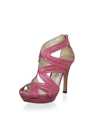 Pura López Women's Pebbled Platform Sandal (Fuxia)