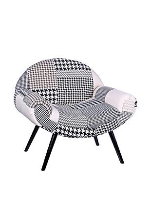 RETRO HOME Sessel Patchwork weiß/schwarz