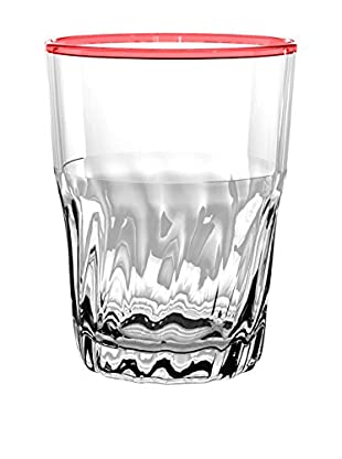 Cantina Acrylic Large Highball Glass, Clear/Red