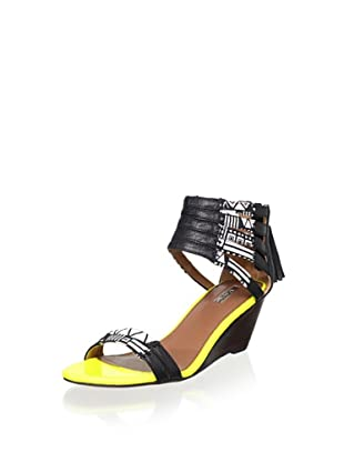 Matiko Women's Laura Wedge Sandal (Black/White Tribal)