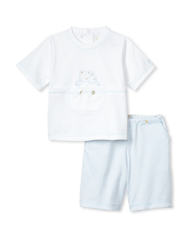 Emile et Rose Baby Boy's Two-Piece Set with Bear Embroidery (Pale Blue)