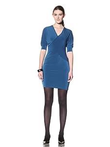 Stephen Burrows Women's Matte Jersey V-Neck Short Sleeve Dress (Teal)