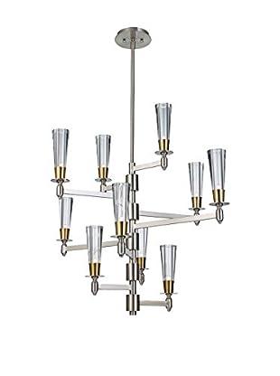 Feiss 10-Light Celebration, Brushed Nickel/Natural Brass