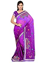 Sehgall Sarees Indian Professional Georgette With Fancy Cutwork Placement Saree