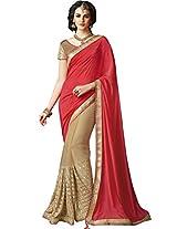 Sapphire Fashions Women's red Chiffon Saree