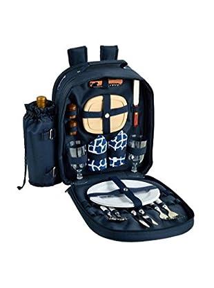 Picnic At Ascot Trellis Blue Backpack For 2, Trellis Blue