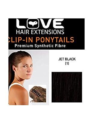 Love Hair Extensions Kunsthaar-Pferdeschwanz India mit Krokodilklemme 40,5cm, 1 Jet Black