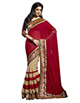Triveni Womens Chiffon & Faux Georgette Red Saree