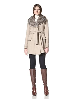 Vince Camuto Women's Wrap Coat with Faux Fur Collar (Oatmeal)