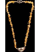 Exotic India Citrine Chips Beaded Necklace - Sterling Silver