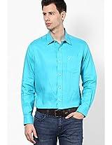 Aqua Blue Linen Regular Fit Casual Shirt Nautica