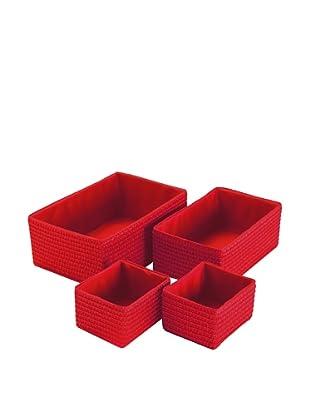 Zings Set 4 Cajas Rectangulares Rojo