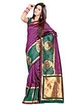 Admyrin Magenta and Green Saree with Green Blouse Piece