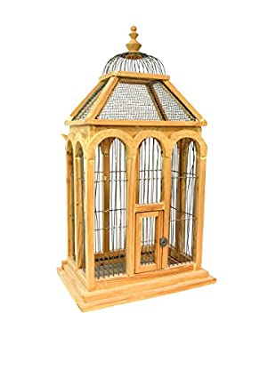 Vintage Birdcage With Drawer, Light Brown
