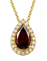 Exxotic Designer Silver 24k Gold Plated Pear Shape Birth Stone Pendant For Girls & Women