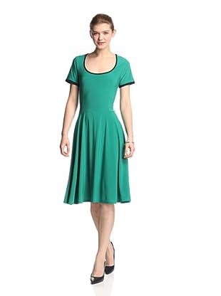 Melissa Masse Women's Scoop Fit Flare (Green/Navy Trim)