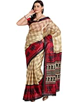 Parchayee Women's Synthetic Art Silk Saree (94308B, Beige, Free Size)