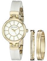 Anne Klein Womens AK/2048GBST Analog Display Japanese Quartz White Watch