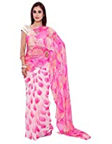 S R couture Women's Chiffon Saree With Blouse Piece (Pink and White)