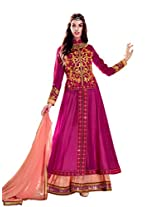 Inddus Women Dark Pink Coloured Ready To Stitched Dress Material