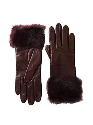 Portolano Women's Leather Gloves with Rabbit Fur Cuff (Tokay/Bordeaux Rabbit)