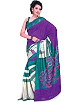 Parchayee Women's Synthetic Bhagalpuri Silk Saree (94392B, Purple, Free Size)