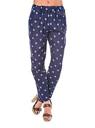100% Lino Bleu Marine Pantalone Lauren