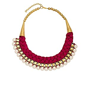 Splendid Pink Color Bib Statement Necklace Adorn With Pearls