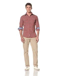 Benson Men's Double Pocket Woven Shirt (Red Plaid)