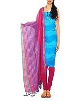 Unnati Silks Women Unstitched office blue-pink handloom Pochampally cotton Punjabi dress