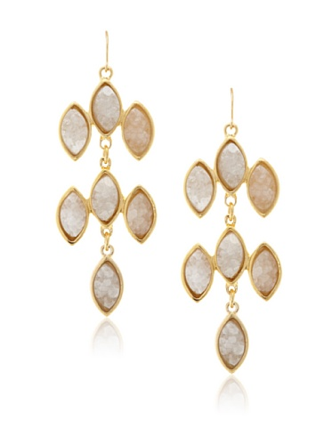 Kara Ross White Drusy Chandelier Marquis Earrings