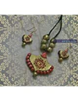 By Artistri - Gold and pink terracotta pendant necklace with jhumkas