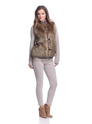 Calvin Klein Women's Faux Fur Sweater Vest (Heather Dark Taupe)
