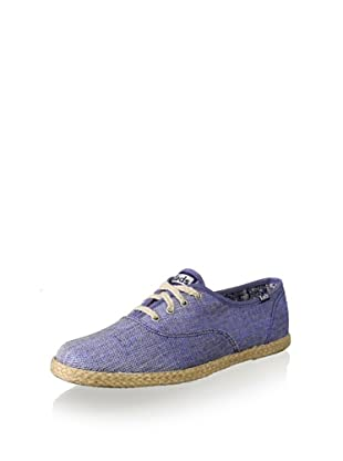 Keds Women's Champion Jute Metallic Linen Sneaker (Blue)
