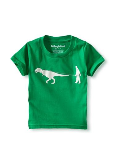 Ex-Boyfriend Boy's Man Walking Dinosaur T-Shirt (Green)