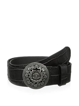Just Cavalli Men's Croc-Embossed Belt (Black)