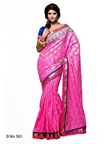 Pink Manipur Silk and Jacquard Saree with Border