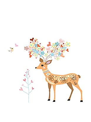Ambiance Live Wandtattoo Doe, birds, end flowers mehrfarbig