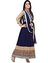 Pushty Fashion Womens Hina Khan nevy blue Suit Georgette Semistiched