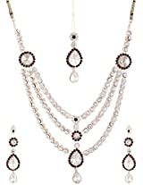 Lucky Jewellery Maroon Green Alloy Chain Patwa Necklace Set With Maang Tikka for Women (957-ISP-414-MG)