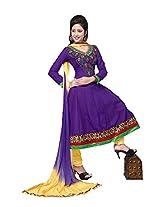 Khushali Women's Semi-Cotton Unstitched Anarkali Salwar Suit dress Material(violet,yellow)