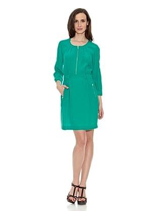 Cortefiel Vestido Fluido Cremallera (Verde Oscuro)