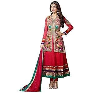 Esha Gupta In Red Jacket Style Long Anarkali Suit