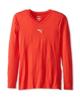 PUMA Men's Pb Lite Long Sleeve V-Neck Tee (Puma Red)