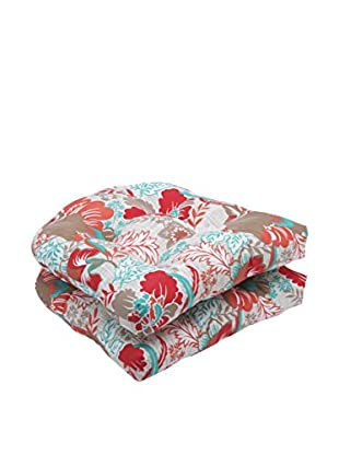 Pillow Perfect Set of 2 Indoor/Outdoor Suzanne Spring Wicker Seat Cushions, Multi